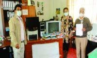 donación de materiales de escritorio, equipo de cómputo, impresora a la institución educativa N° 54329 de Taquebamba del distrito de Tintay provincia de Aymaraes