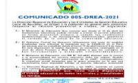 COMUNICADO 005-DREA-2021