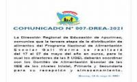 COMUNICADO N° 007-DREA-2021